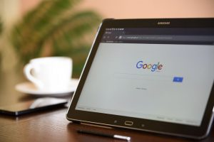 Tablet's screen's showing google page