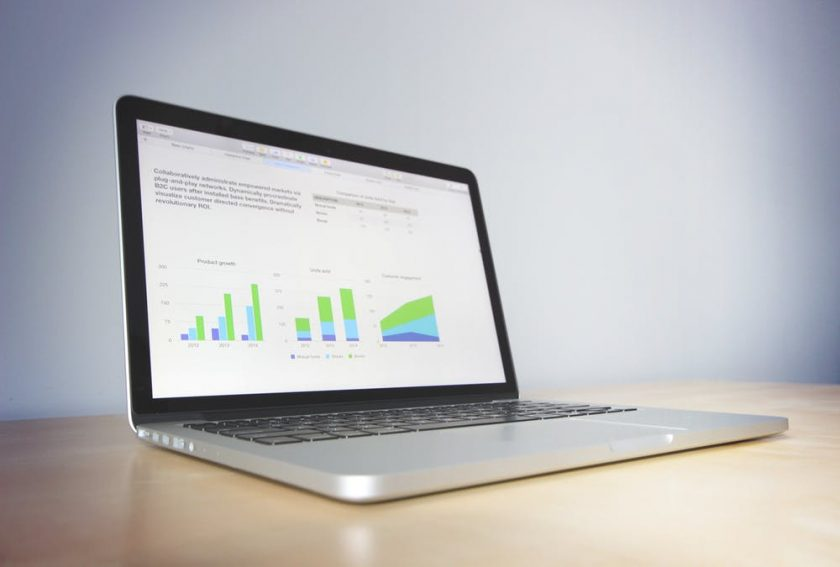 laptop's screen showing data analytics