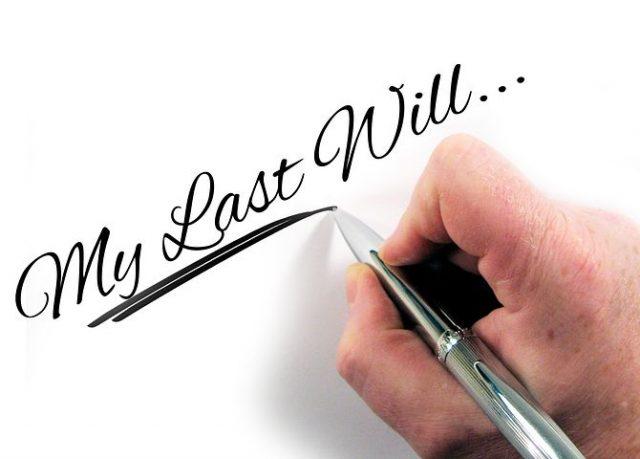 My Last Will written in a paper