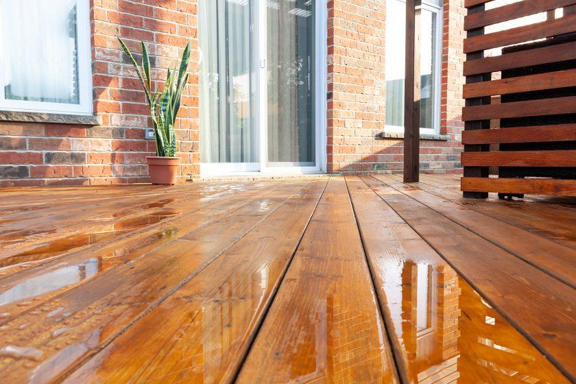Backyard with hardwood timber floor
