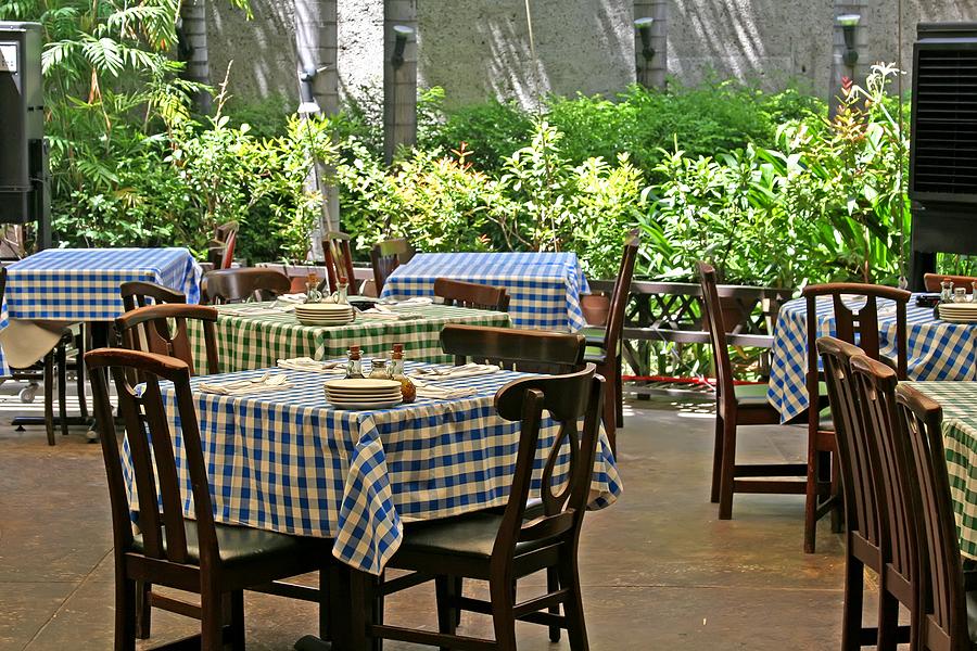 Outdoor set up of a restaurant
