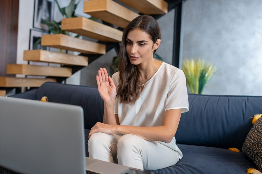 Woman having an online therapy